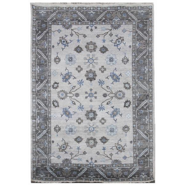 Diamond Carpets Ručně vázaný kusový koberec Diamond DC-USHAK silver/black, 180x275 Diamond Carpets% Šedá - Vrácení do 1 roku ZDARMA vč. dopravy