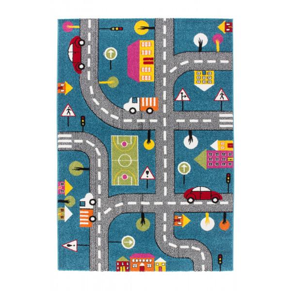 Lalee koberce Kusový koberec Amigo AMI 317 street, 120x170 cm% Modrá - Vrácení do 1 roku ZDARMA vč. dopravy