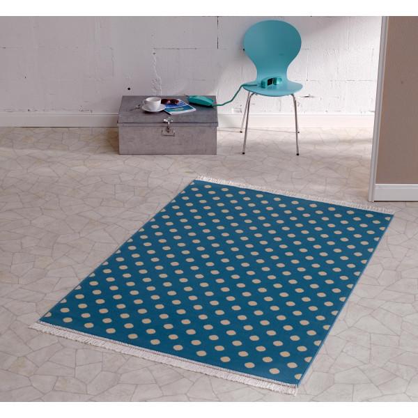 Hanse Home Collection koberce Kusový koberec FRINGE Polka Dot Mit Fransen Blau, 140x200 cm% Modrá - Vrácení do 1 roku ZDARMA vč. dopravy