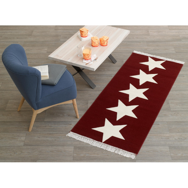 Hanse Home Collection koberce Běhoun FRINGE Läufer Sterne Rot, 80x200 cm Hanse Home Collection koberce% Červená - Vrácení do 1 roku ZDARMA vč. dopravy