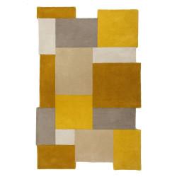 Ručně všívaný kusový koberec Abstract Collage Ochre/Natural