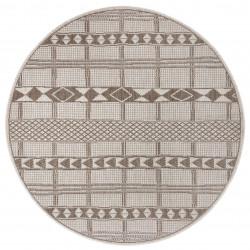 Kusový koberec Flatweave 104851 Light-brown/Cream kruh