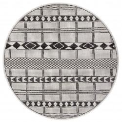 Kusový koberec Flatweave 104852 Black/Cream kruh