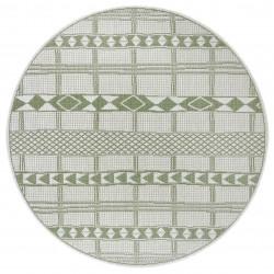 Kusový koberec Flatweave 104853 Green/Cream kruh