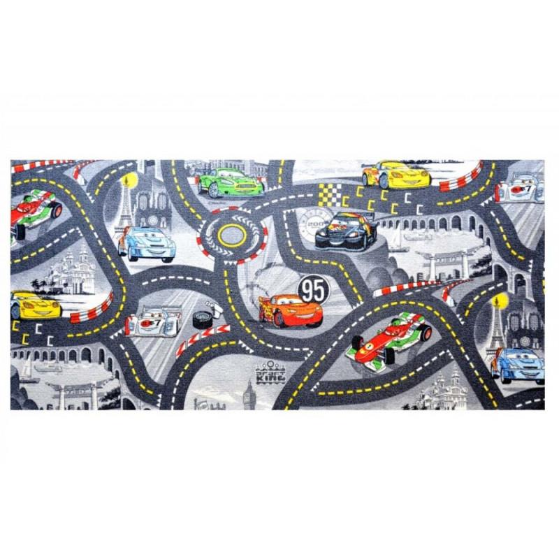 AKCE: 133x133 čtverec cm Dětský kusový koberec The World of Cars 97 šedý