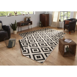 AKCE: 80x350 cm Kusový koberec Twin-Wendeteppiche 103129 schwarz creme
