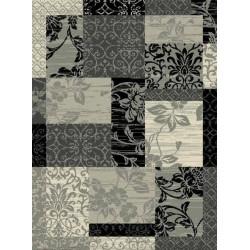Kusový koberec Prime Pile 102291 Patchwork Optik Bordüre Grau Creme Schwarz