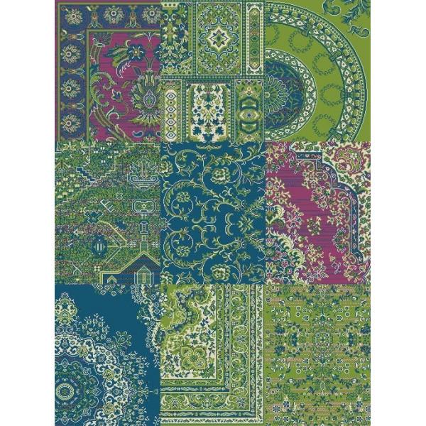 Kusový koberec Prime Pile 101191 Patchwork Optik Grün/Blau