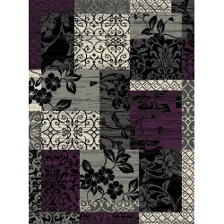 Kusový koberec Prime Pile 101181 P. Optik Bordüre Lila/Grau/Beige/Schwarz