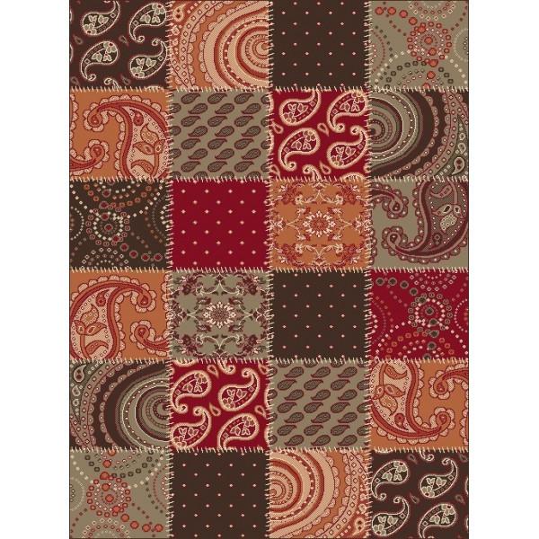 Hanse Home Collection koberce Kusový koberec Prime Pile 101091 Patchwork Optik Terra/Braun/Rot, koberců 60x110 cm Červená, Hnědá - Vrácení do 1 roku ZDARMA