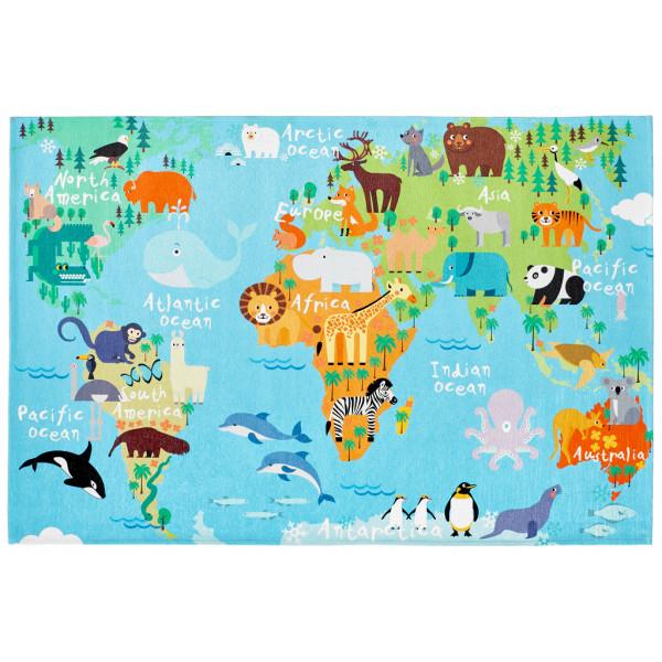 Obsession koberce Dětský kusový koberec Torino kids 233 WORLD MAP, kusových koberců 120x170 cm% Modrá - Vrácení do 1 roku ZDARMA vč. dopravy