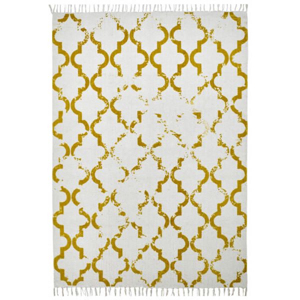 Obsession koberce Ručně tkaný kusový koberec Stockholm 341 MUSTARD, koberců 60x110 cm Bílá, Žlutá - Vrácení do 1 roku ZDARMA