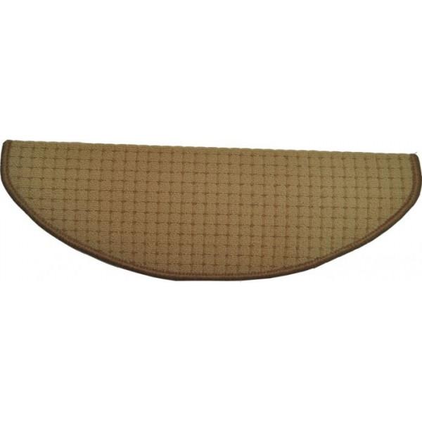 Vopi koberce Nášlapy na schody béžový Birmingham, koberců 24 x 65 cm půlkruh Béžová - Vrácení do 1 roku ZDARMA