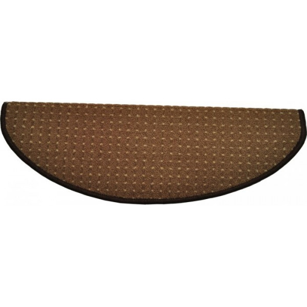 Vopi koberce Nášlapy na schody hnědý Birmingham, koberců 24 x 65 cm půlkruh Hnědá - Vrácení do 1 roku ZDARMA
