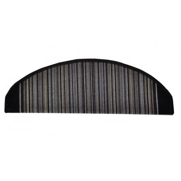 Vopi koberce Nášlapy na schody šedá Carnaby, kusových koberců 24 x 65 cm půlkruh% Šedá - Vrácení do 1 roku ZDARMA vč. dopravy