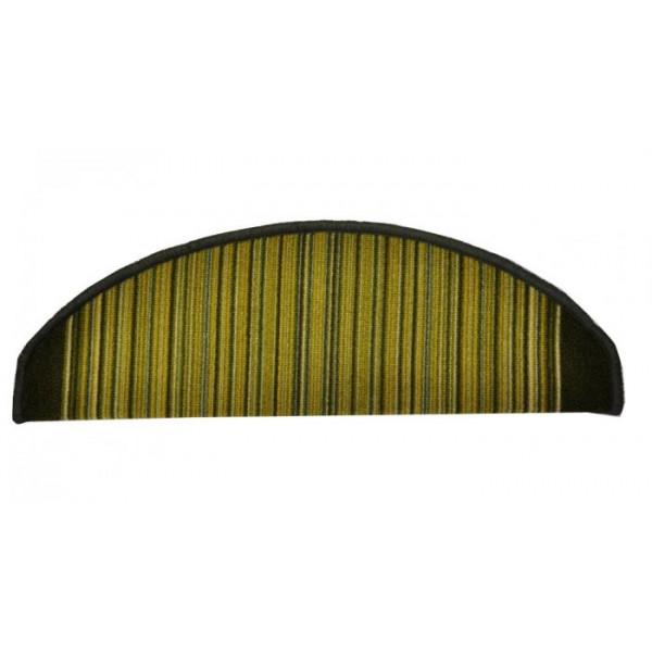 Vopi koberce Nášlapy na schody zelená Carnaby, kusových koberců 24 x 65 cm půlkruh% Zelená - Vrácení do 1 roku ZDARMA vč. dopravy