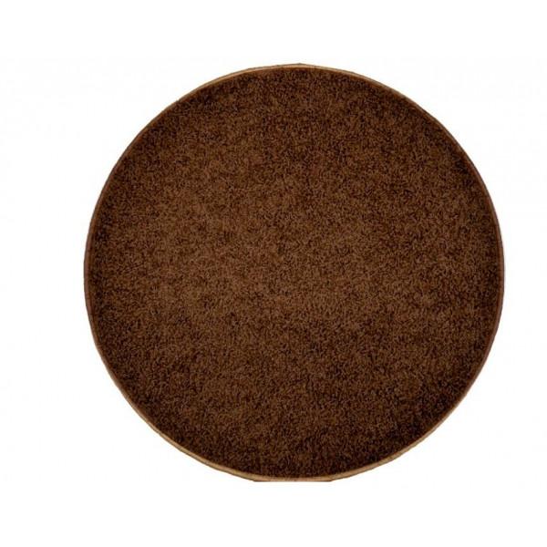 Kusový kulatý koberec Color Shaggy tmavě hnědý