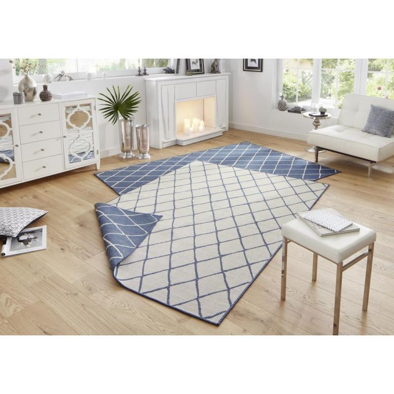 Kusový koberec Twin-Wendeteppiche 103119 blau creme