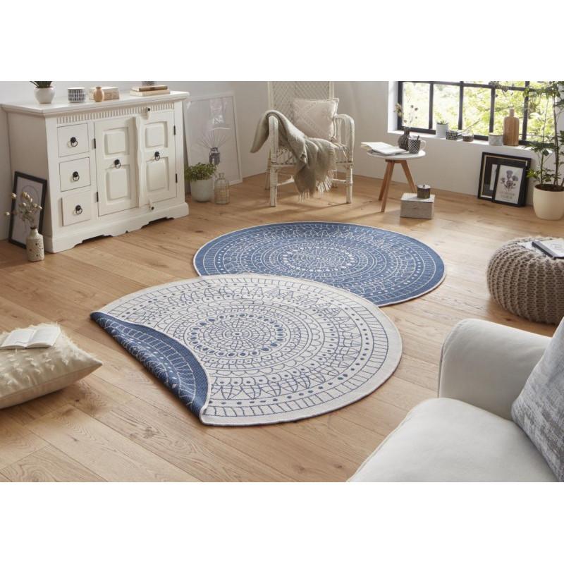 Kusový koberec Twin-Wendeteppiche 103104 creme blau