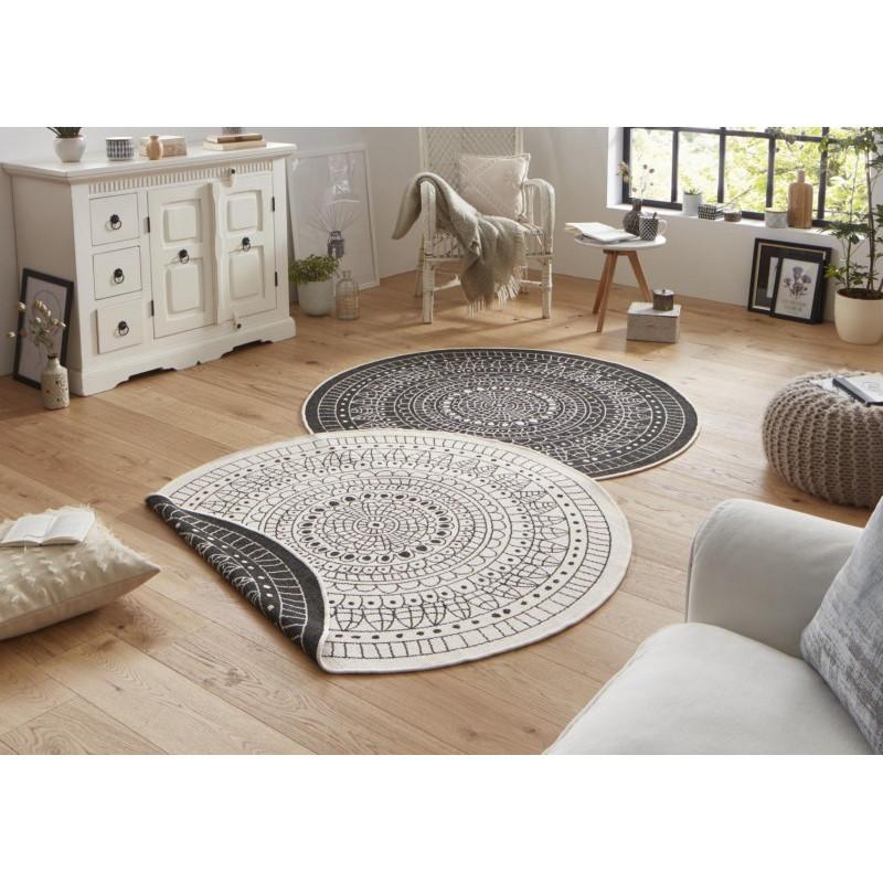 Kusový koberec Twin-Wendeteppiche 103101 creme schwarz