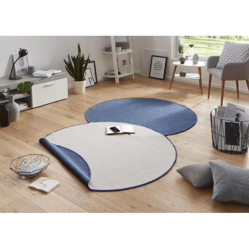 Kusový koberec Twin-Wendeteppiche 103100 blau creme kruh