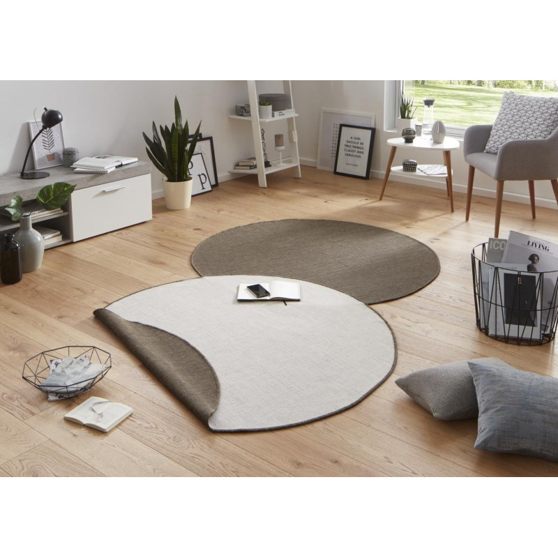 Kusový koberec Twin-Wendeteppiche 103099 braun creme kruh