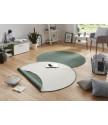 Kusový koberec Twin-Wendeteppiche 103095 grün creme kruh