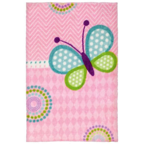 Obsession koberce Dětský kusový koberec Lollipop 184 Butterfly, koberců 90x130 cm Růžová - Vrácení do 1 roku ZDARMA