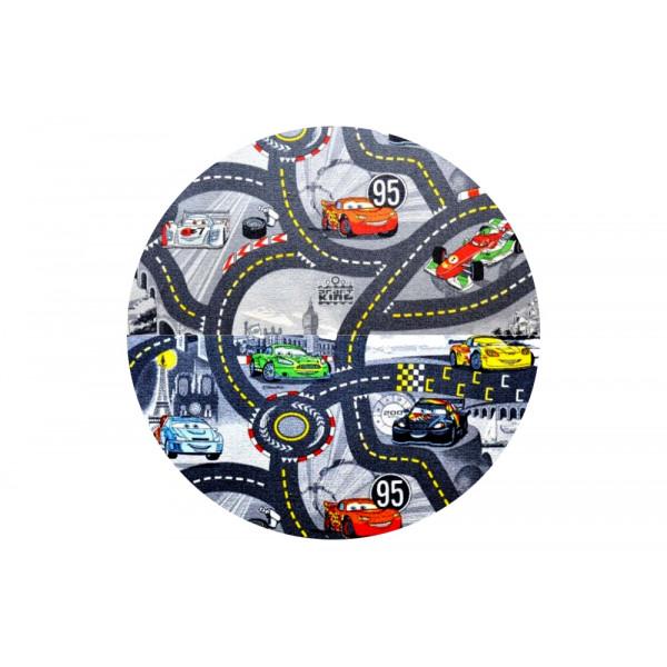 Vopi koberce Kusový koberec The World of Cars 97 šedý kulatý, koberců 200x200 cm kruh Šedá -