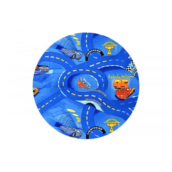 Vopi koberce Dětský kusový koberec Cars 77 World of cars blue kulatý, kusových koberců 200x200 cm kruh% Modrá - Vrácení do 1 roku ZDARMA vč. dopravy + možnost zaslání vzorku zdarma