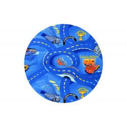 Dětský kusový koberec Cars 77 World of cars blue kulatý