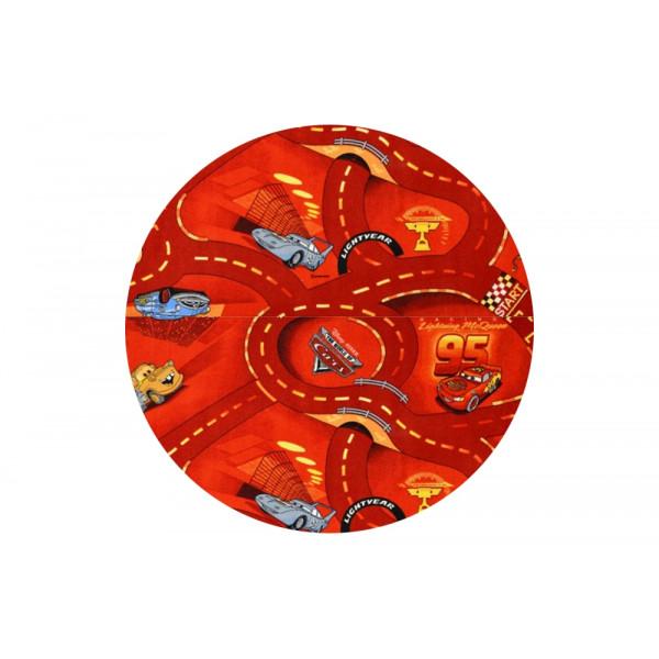 Vopi koberce Kusový koberec The World of Cars 10 kulatý, koberců 200x200 cm kruh Červená - Vrá