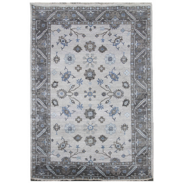 Diamond Carpets koberce Ručně vázaný kusový koberec Diamond DC-USHAK silver/black, koberců 180x275 Šedá - Vrácení do 1 roku ZDARMA