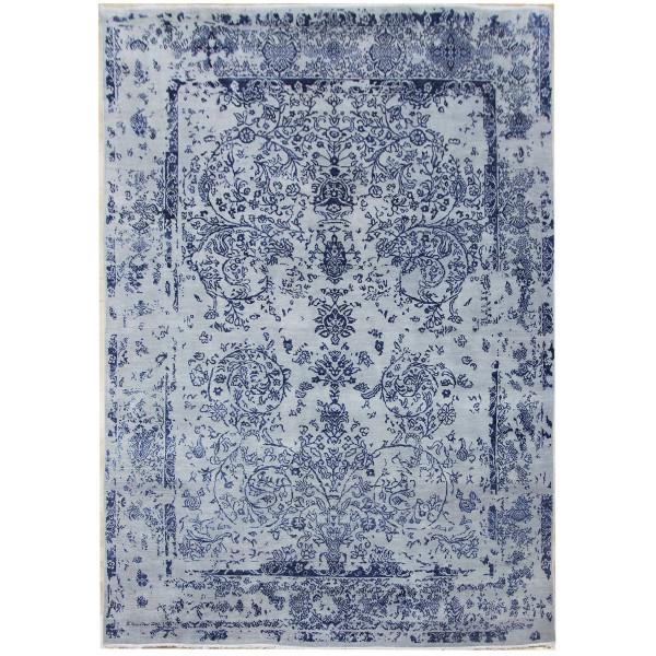 Ručně vázaný kusový koberec Diamond DC-JK ROUND Silver/peacock blue