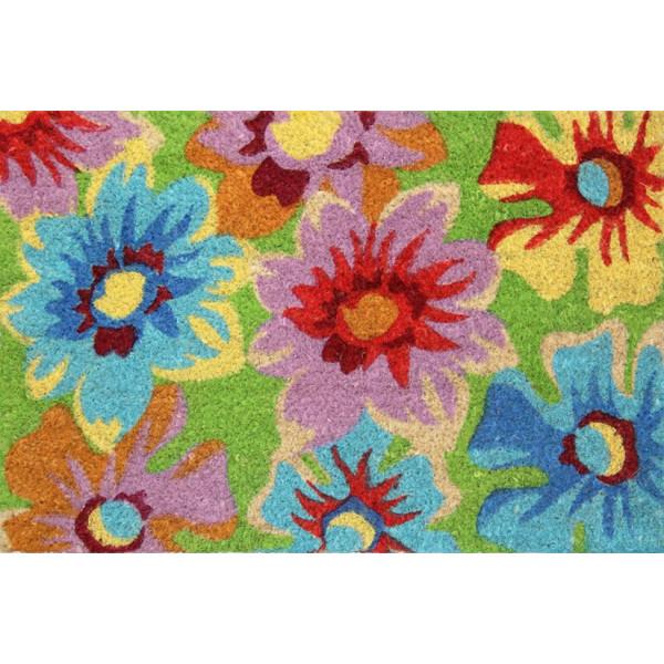 Rohožka Kokos barevná kytky