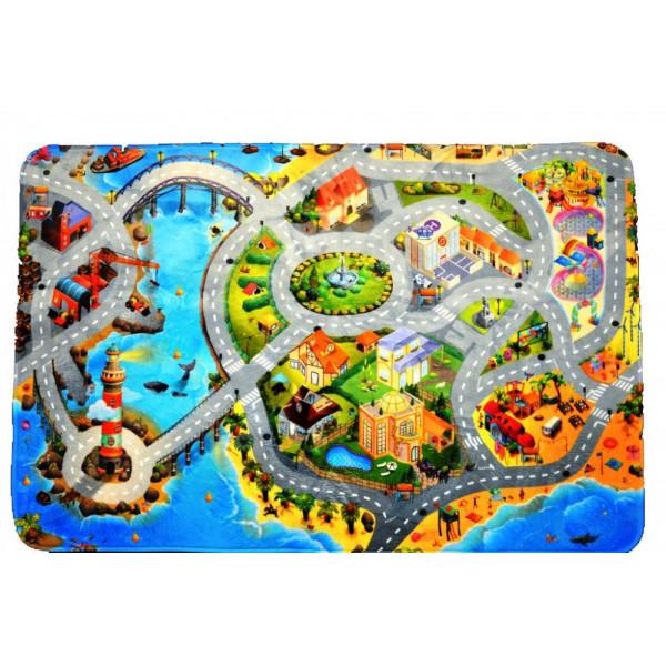 Kusový koberec Ultra Soft Město s pláží