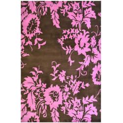 Ručně vyrobený kusový koberec Pink Flower