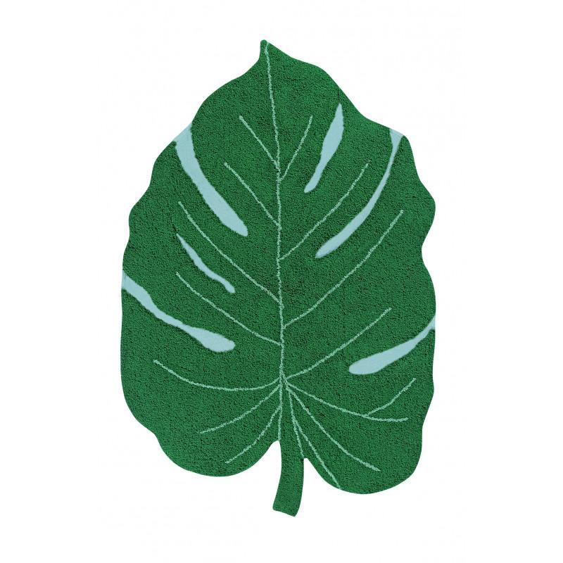 Bio koberec kusový, ručně tkaný Monstera Leaf