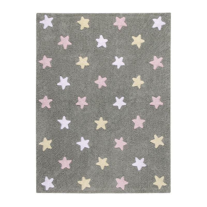 Bio koberec kusový, ručně tkaný Tricolor Stars Grey-Pink