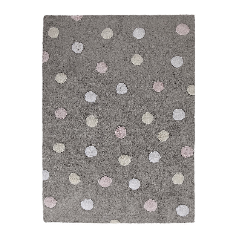 Ručně tkaný kusový koberec Tricolor Polka Dots Grey-Pink