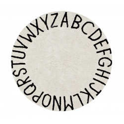 Ručně tkaný kusový koberec Round ABC Natural-Black