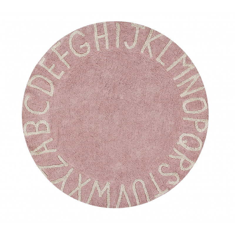 Bio koberec kusový, ručně tkaný Round ABC Vintage Nude-Natural