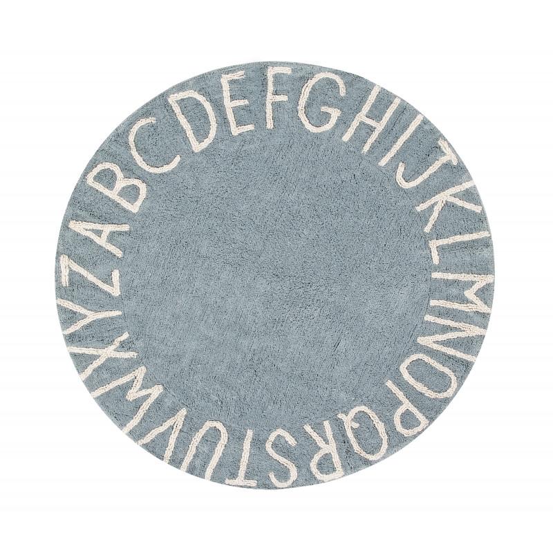 Bio koberec kusový, ručně tkaný Round ABC Vintage Blue-Natural