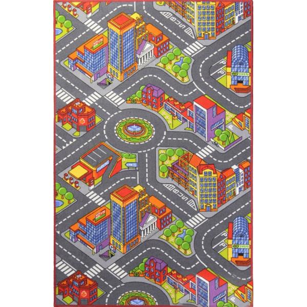 Associated Weavers koberce Dětský kusový koberec silnice Big City, kusových koberců 100x165% Šedá - Vrácení do 1 roku ZDARMA vč. dopravy