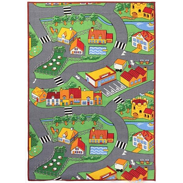 Associated Weavers koberce Hrací koberec pro děti silnice Little Village, koberců 100x165 Šedá