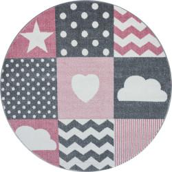 Kusový koberec Kids 620 pink kruh