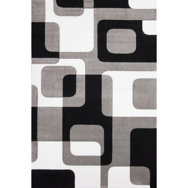 Lalee koberce Kusový koberec Lambada LAM 463 silver-black, kusových koberců 80x150 cm% Šedá - Vrácení do 1 roku ZDARMA vč. dopravy