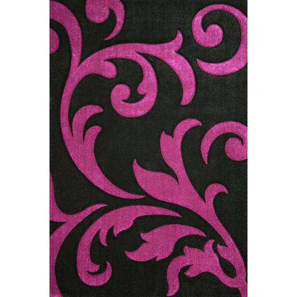 Lalee koberce Kusový koberec Lambada LAM 451 black-violet, 80x150 cm% Černá, Fialová - Vrácení do 1 roku ZDARMA vč. dopravy