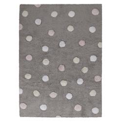 Pro zvířata: Pratelný koberec Tricolor Polka Dots Grey-Pink