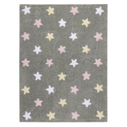Pro zvířata: Pratelný koberec Tricolor Stars Grey-Pink